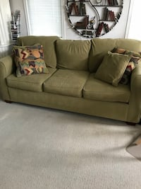 Olive green couch and loveseat with accent pillows St Thomas, N5R