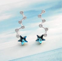 CZ Crystals 925 Sterling Silver Sapphire Blue Climber Earrings