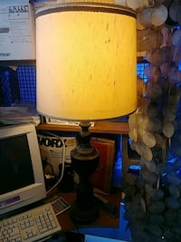 brown wooden base white shade table lamp Fairfax, 22032