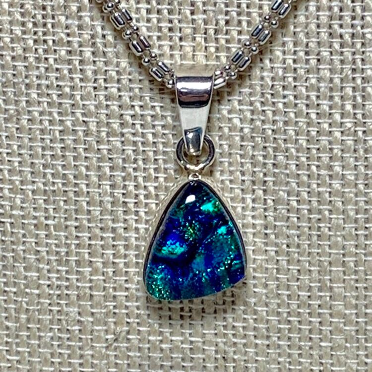 Vintage Sterling Silver Dichroic Glass Pendant with Sterling Chain d172c8ed-08a9-490b-956a-2c337bb9cadb