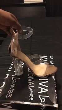Rose gold and clear stilettos