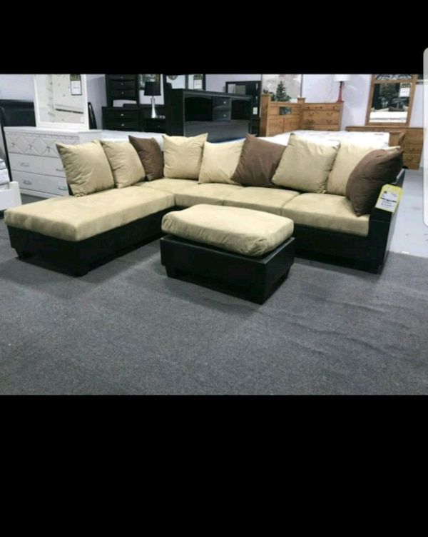 Sectional with free ottoman, brand new