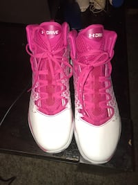 pair of pink Air Jordan basketball shoes