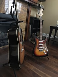 Guitars, GWL acoustic , and squire electric Ajax, L1S 6J7