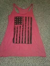 red and black crew-neck Tank// American Flag Troy, 63379