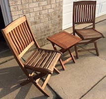 Solid Wood Folding Patio / Balcony Table & Chairs