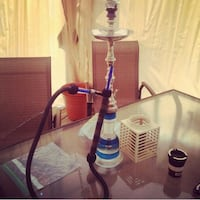 white blue and black hookah.