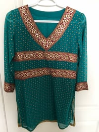 Stunning turquoise and red kurta top