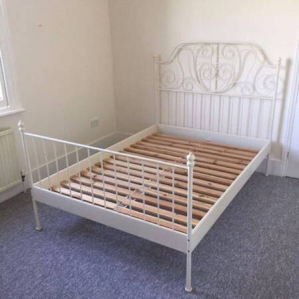 Queen Bed Frame White Metal Ikea Used