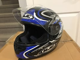 Black and blue HJC full face helmet in new condition