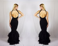 women's black backless cocktail dress