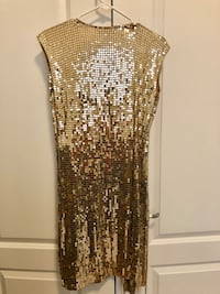 Michael Kors Gold Sequins Wrap Dress Vaughan