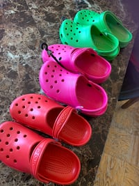 $10 each --Size  3,5 /. New crocs pink ,red and green Kensington, 20895