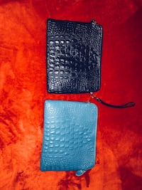 Leather hand bags navy blue and light blue 1273 mi