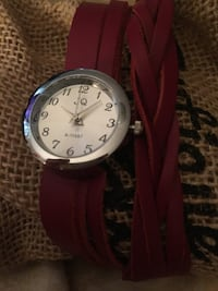Watch ladies double wrap red leather braided band New !! Baltimore, 21237
