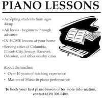 Piano lessons Jessup