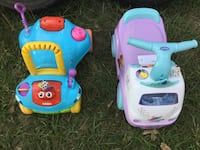 toddler's two assorted colored ride-on toy cars