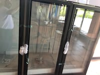 black wooden framed glass display cabinet Virginia Beach, 23451