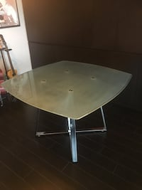 Dining Table (1 yr new) frosted glass top