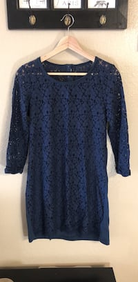 Women's lace shift dress dark blue