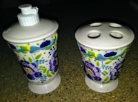 two white-purple-and-green ceramic like new...