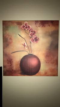 red and brown flower in ceramic pot painting