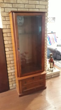 brown wooden framed glass display cabinet HOUSTON