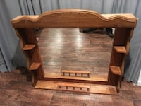 Large Mirror Wood Frame Head Board with Shelves Montoursville, 17754