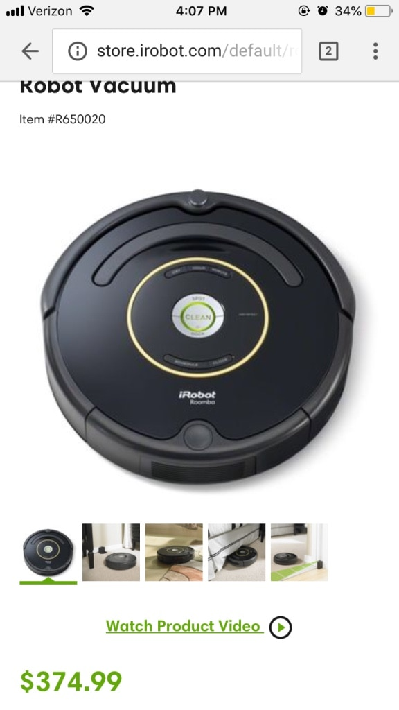 black iRobot Roomba vacuum cleaner screenshot for sale  Wappingers Falls