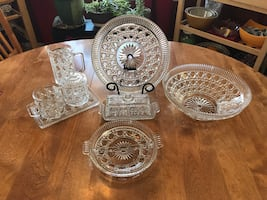 Collection of clear thumb print/cane and button glass dishes