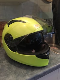 yellow and black full-face helmet