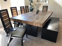 Rectangular brown wooden table with six chairs dining set Murrieta, 92562