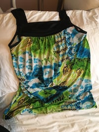 Green, blue, and white floral sleeveless top Regina, S4S 5V6