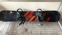 Black and red snowboard with bindings Oakville, L6H 2W1