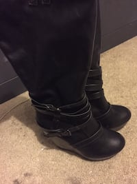 Knee high black leather wedge heels Germantown, 20876