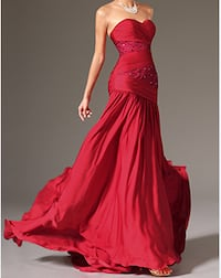 Robe Rouge Mousseline Soiree T42 Cannes