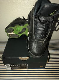 Children's Size 13 Pair of Black and Green Retro 13 sneakers