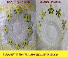 Floral Frosted Glass Plate and Bowl