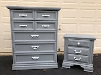 Solid Wood Tallboy Dresser With Nightstand Gray With White Handles