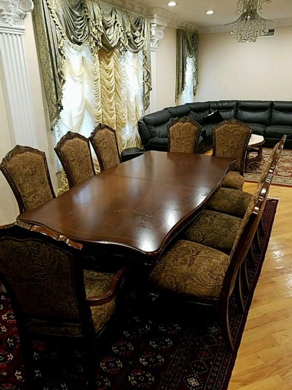 Used Brown Wooden Dining Table Set With 9 Chairs For Sale In Brooklyn