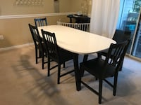 Gloss white table 4 chairs and bench dining set Alexandria, 22315