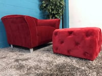 ***Red Fabric Accent Chair w/ Tufted Ottoman (Free Delivery)  534 mi