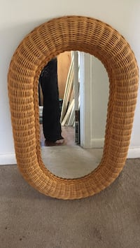Brown wicker framed mirror with brown wooden frame Upper Darby, 19082
