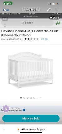 white wooden crib with changing table screenshot Fairfax, 22031