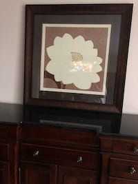 Flower picture with cherry wood frame Los Angeles