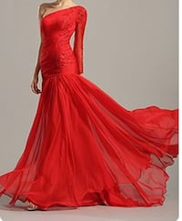 Robe soiree Cannes Mousseline rouge taille 40
