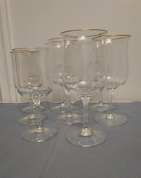 8 Piece Stemware Glass Set with Gold Rims  West Springfield