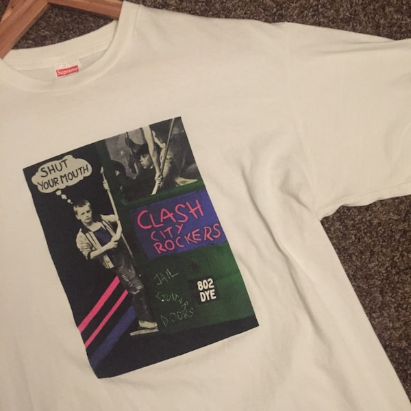 5c655bca Used SUPREME CLASH CITY ROCKERS SHUT YOUR MOUTH TEE IN WHITE for sale in  Ontario - letgo