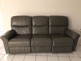 Genuine leather electric reclining sofa and chair