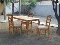 rectangular brown wooden table with six chairs dining set Fontana, 92337